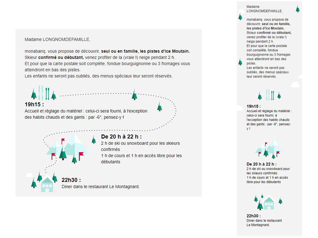Versions desktop et mobile d'une partie de newsletter responsive.