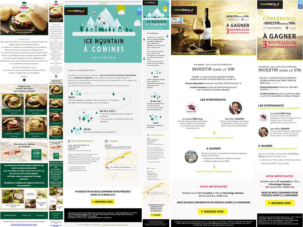 3 newsletters responsives avec, pour chacune, le format desktop et le format mobile.