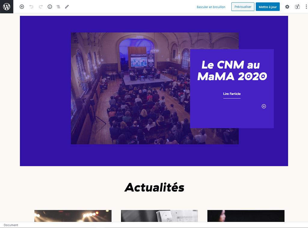 CNM - Page d'accueil dans l'éditeur WordPress